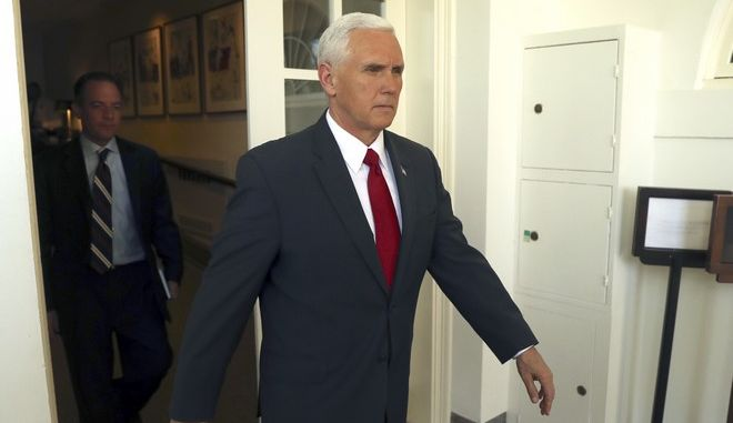 Vice President Mike Pence arrives for a news conference with President Donald Trump and Jordan's King Abdullah II in the Rose Garden at the White House, Wednesday, April 5, 2017, in Washington. (AP Photo/Andrew Harnik)