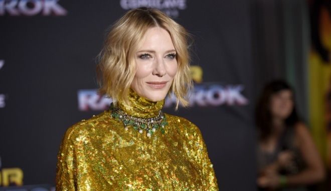 """Cate Blanchett arrives at the world premiere of """"Thor: Ragnarok"""" at the El Capitan Theatre on Tuesday, Oct. 10, 2017, in Los Angeles. (Photo by Chris Pizzello/Invision/AP)"""