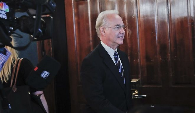 Health and Human Services Secretary Tom Price for a news conference by the National Foundation for Infectious Diseases (NFID) recommending everyone age six months an older be vaccinated against influenza, Thursday, Sept. 28, 2017 in Washington. (AP Photo/Pablo Martinez Monsivais)