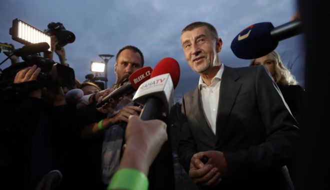 Czech billionaire and leader of ANO 2011 political movement Andrej Babis addresses the media after most of the votes were counted in the parliamentary elections in Prague, Czech Republic, Saturday, Oct. 21, 2017. (AP Photo/Petr David Josek)