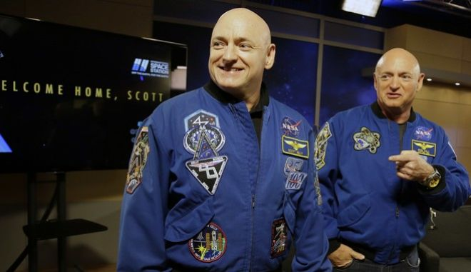 FILE - In this March 4, 2016, file photo, NASA astronaut Scott Kelly, left, and his twin Mark get together before a press conference in Houston. Scott Kelly set a U.S. record with his a 340-day mission to the International Space Station. Kelly is exploring lots of options for the next step in his life. But hes saving the serious job discussions for retirement, coming up April 1. His identical twin, Mark, retired as an astronaut soon after the shuttle program ended in 2011, yet agreed to medical testing as part of the unprecedented twins study that got under way well before Scotts March 2015 launch from Kazakhstan. (AP Photo/Pat Sullivan, File)