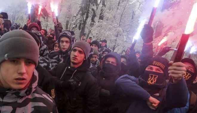 Μέλη ακροδεξιάς οργάνωσης στην Ουκρανία - Φωτογραφία αρχείου