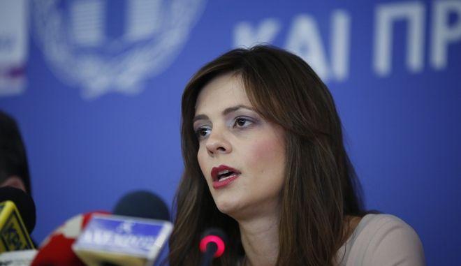 Συνέντευξη Τύπου για την έναρξη λειτουργίας του ΕΦΚΑ, από την υπουργό Εργασίας, Κοινωνικής Ασφάλισης και Κοινωνικής Αλληλεγγύης, Έφη Αχτσιόγλου(φωτό) τον υφυπουργό Κοινωνικής Ασφάλισης Αναστάσιο Πετρόπουλο, την γενική γραμματέα Κοινωνικών Ασφαλίσεων Στέλλα Βρακά και τον διοικητή του ΕΦΚΑ Αθανάσιο Μπακαλέξη, την Τρίτη 3 Ιανουαρίου 2016, στο υπουργείο Εργασίας. (EUROKINISSI/ΣΤΕΛΙΟΣ ΜΙΣΙΝΑΣ)