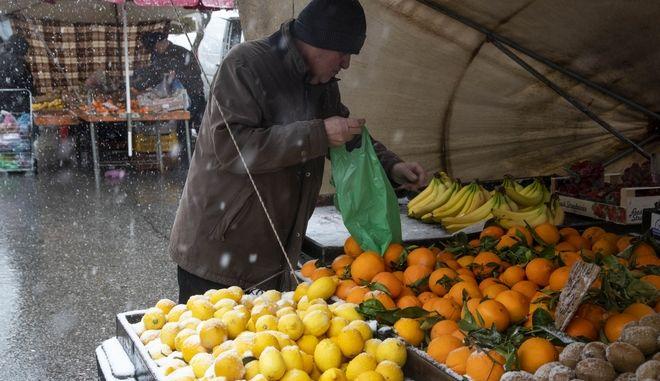 Ψώνια στη λαϊκή αγορά της Ηλιούπολης