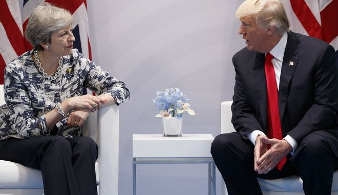 U.S. President Donald Trump meets with British Prime Minister Theresa May at the G20 Summit, Saturday, July 8, 2017, in Hamburg, Germany. (AP Photo/Evan Vucci)
