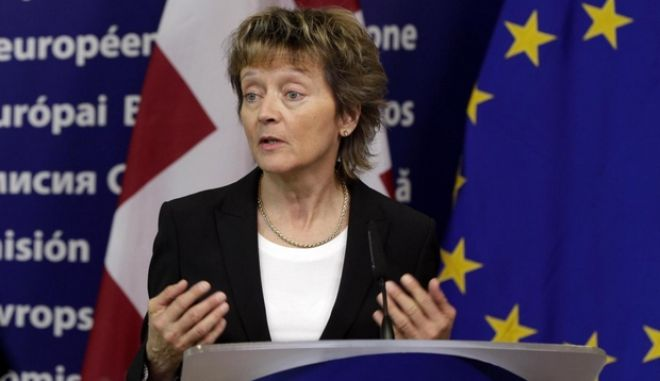President of the Swiss Confederation Eveline Widmer Schlumpf speaks during a media conference at EU headquarters in Brussels on Tuesday, March 20, 2012.  (AP Photo/Virginia Mayo)