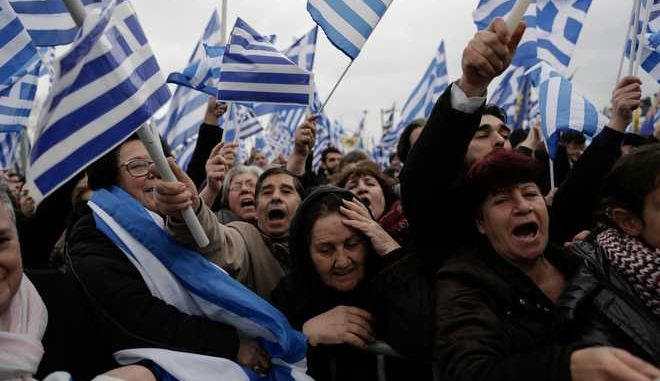 Thousands of people are demonstrating on the seafront of Thessaloniki protesting on the use of the term Macedonia by FYROM in an eventual erga omnes solution, Thessaloniki, Greece on January 21, 2018. /                      , , 21  2018.