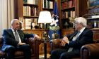 Meeting of the Greek President Prokopis Pavlopoulos and Immigration Commissioner of Internal Affairs and Citizenship for the European Union, Dimitris Avramopoulos, in Athens, Greece on Oct. 5, 2017 /     ,      ,       ,  ,    5 , 2017.