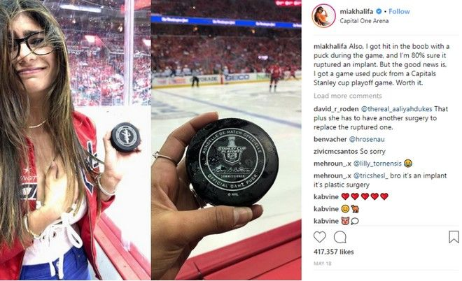 Mia Khalifa: Δίσκος χόκεϊ διέλυσε εμφύτευμα στήθους της πρώην πορνοστάρ