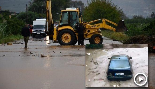 Αυτοκίνητο παρασέρνεται από τα ορμητικά νερά της Πάνιτσας στην Αργολίδα. Εκκενώνεται το χωριό Νέα Κίος
