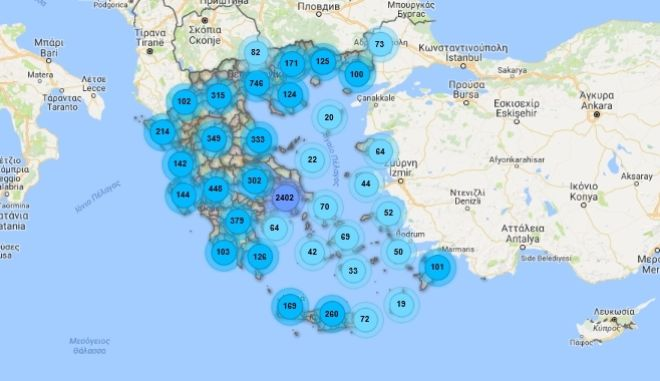 Ο χάρτης της ηλεκτρομαγνητικής ακτινοβολίας στην Ελλάδα