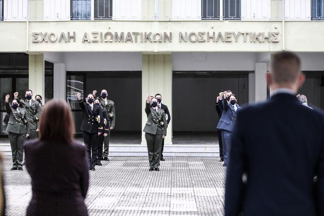 Τελετή ορκωμοσίας των νέων Αξιωματικών Νοσηλευτικής τάξεως 2020, παρουσία της Προέδρου της Δημοκρατίας ΚΑτερίνας Σακελλαροπούλου