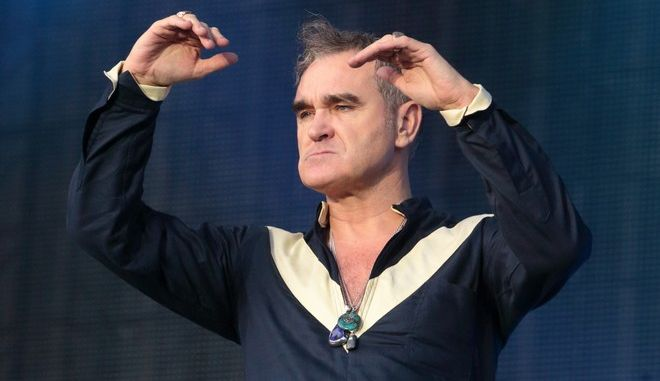 Singer-songwriter Morrissey, formerly of the band The Smiths, performs on Day 2 of the 2015 Firefly Music Festival at The Woodlands on Friday, June 19, 2015, in Dover, Del. (Photo by Owen Sweeney/Invision/AP)
