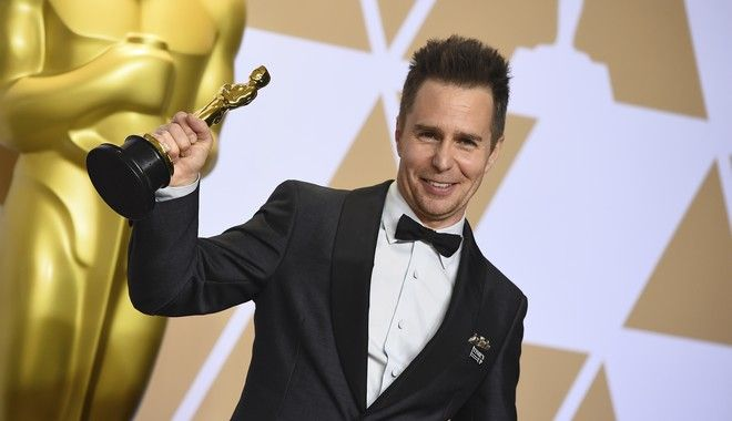Sam Rockwell, winner of the award for best performance by an actor in a supporting role for