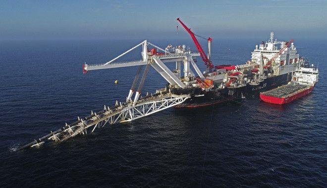 Εικόνα από τις εργασίες στη Βαλτική θάλασσα για την κατασκευή του αγωγού φυσικού αερίου Nord Stream 2