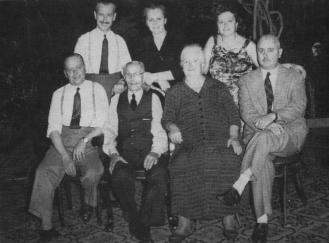 In this undated photo courtesy of Sergio Rubin, family members of Argentine Pope Jorge Mario Bergoglio pose for a portrait in an unknown location. Bergoglio's uncle Oscar Adrian Sivori, stands top left, mother Maria Regina Sivori stands top center, aunt Catalina Ester Sivori stands top right, uncle Vicente Francisco Sivori sits bottom left, grandfather Francisco Sivori Sturla sits second from left, grandmother Maria Gogna de Sivori, sitting second from right, and uncle Luis Juan Sivori, pose for a family portrait in an unknown location.  Cardinal Jorge Bergoglio was named pope on Wednesday, March 13, 2013, making him the first pope ever from the Americas and the first from outside Europe in more than a millennium. (AP Photo/Courtesy of Sergio Rubin)