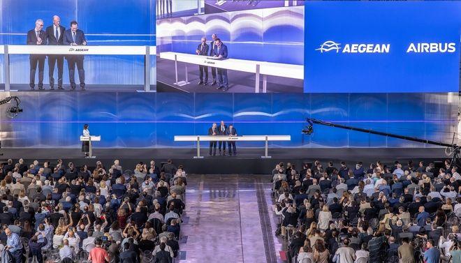 Γενική άποψη από την εκδήλωση για την υπογραφή της συμφωνίας της AEGEAN με την Airbus