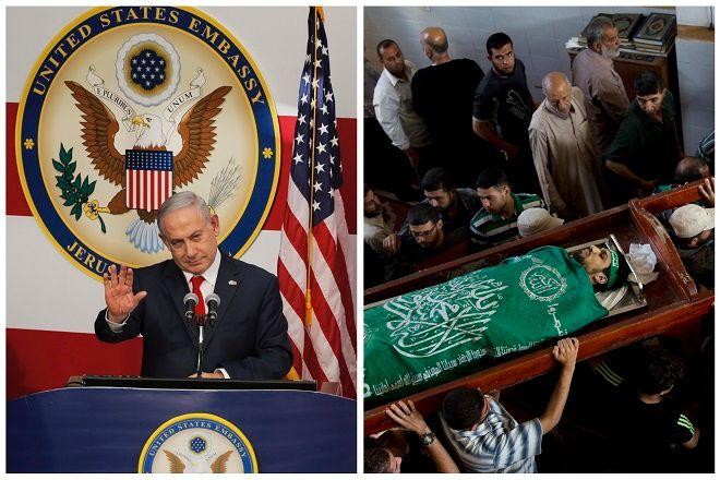Ο Ισραηλινός πρωθυπουργός Μπενιαμίν Νετανιάχου στην τελετή εγκαινίων της πρεσβείας των ΗΠΑ στα Ιεροσολυμα. Ημέρα αιματηρών επεισοδίων στην Γάζα.