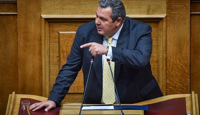 Ο υπουργός Άμυνας και πρόεδρος των Ανεξάρτητων Ελλήνων Πάνος Καμμένος, στην προ ημερησίας διατάξεως συζήτηση για την οικονομία, τις αποφάσεις του Eurogroup και τις δεσμεύσεις που ανέλαβε η κυβέρνηση, την Πέμπτη 5 Ιουλίου 2018