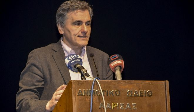 Ομιλία του υπουργού Οικονομικών, Ευκλείδη Τσακαλώτου στη Λάρισα την Παρασκευή 23 Μαρτίου 2018.  (EUROKINISSI)