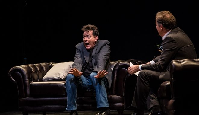 US actor Charlie Sheen is interviewed on stage by British journalist Piers Morgan as part of 'An Evening with Charlie Sheen' event at Theatre Royal Drury Lane, in London, Sunday June 19, 2016. (Photo by Vianney Le Caer/Invision/AP)