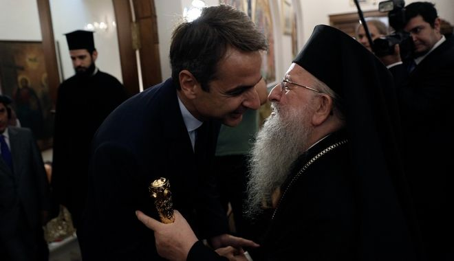 Bishop Anthimos meets the leader of the New Democracy party Kyriakos Mitsotakis in Thessaloniki, Greece on 16 September 2016. /              ,       81 , 16  2016.