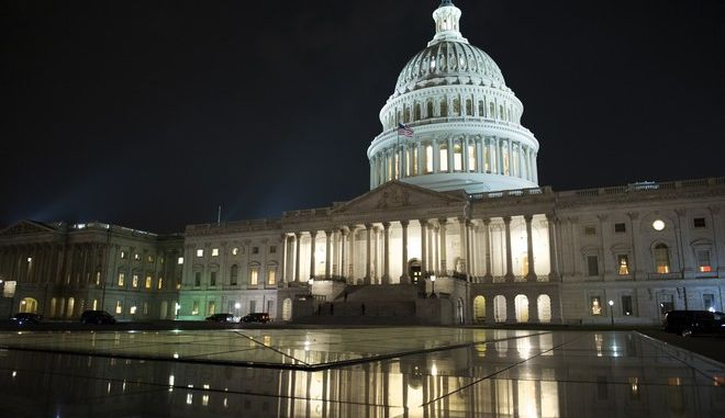 """The Capitol stays open as the Republican majority in Congress remains stymied by their inability to fulfill their political promise to repeal and replace """"Obamacare"""", because of opposition and wavering within the GOP ranks, on Capitol Hill in Washington, Thursday, July 27, 2017. (AP Photo/Cliff Owen)"""