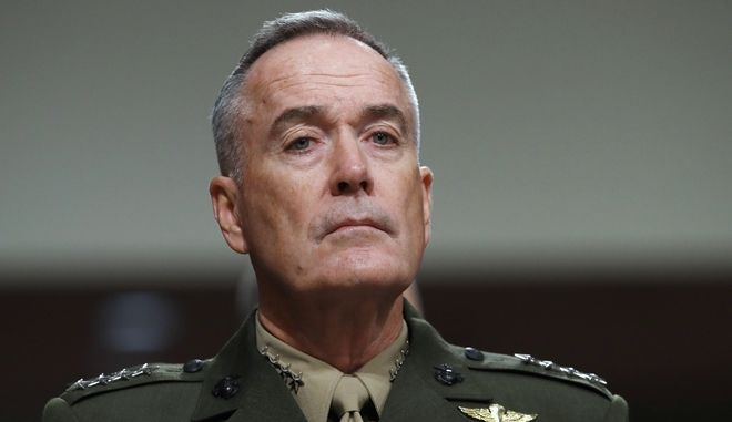 Joint Chiefs Chairman Gen. Joseph Dunford listens on Capitol Hill in Washington, Tuesday, June 13, 2017, while testifying before during a Senate Armed Services Committee hearing on the defense department's budget. (AP Photo/Jacquelyn Martin)