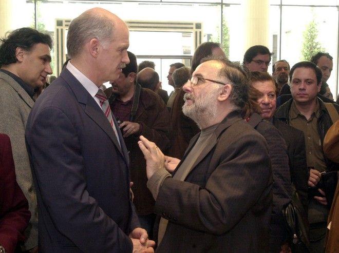 Εκδήλωση του ΠΑΣΟΚ για τον πολιτισμό. Θάνος Μικρούτσικος και Γιώργος Παπανδρέου