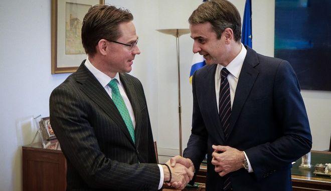 Συνάντηση του προέδρου της Νέας Δημοκρατίας Κυριάκου Μητσοτάκη με τον αντιπρόεδρο της Ευρωπαϊκής Επιτροπής Γίρκι Κατάινεν