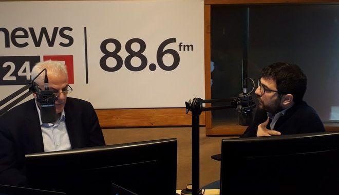 Ο Νάσος Ηλιόπουλος στο στούντιο του News 24/7 στους 88,6