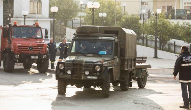 Επιχείρηση στην πόλη της Σάμου την Τρίτη 14 Ιανουαρίου 2020, για την εξουδετέρωση βόμβας που εικάζεται ότι προέρχεται από τον βομβαρδισμό της Σάμου στη διάρκεια του Β' παγκόσμιου πολέμου.