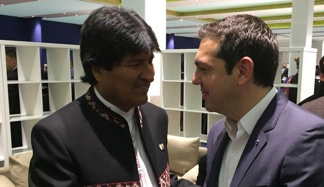 Φωτογραφία από προηγούμενη συνάντηση του πρωθυπουργού, Αλ. Τσίπρα και του προέδρου της Βολιβίας, Έβο Μοράλες