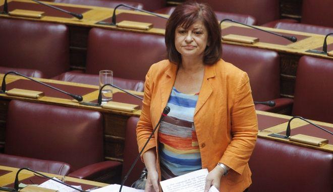 Η βουλευτής του ΚΚΕ, Διαμάντω Μανωλάκου
