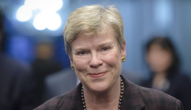 NATO Deputy Secretary-General Rose Gottemoeller arrives for a press conference, in Bucharest, Romania, Monday, Nov. 7, 2016. Gottemoeller, a top NATO official, says the alliance wants to engage Russia in dialogue despite concern about Moscow's military buildup in the Black Sea area. (AP Photo/Andreea Alexandru)