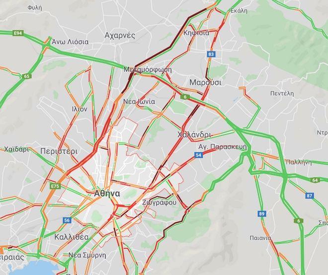 Κίνηση στους δρόμους: Μεγάλες καθυστερήσεις στο κέντρο της Αθήνας