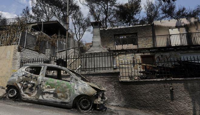 Εικόνα από το κατεστραμένο Μάτι, λίγες ημέρες μετά τη φονική πυρκαγιά