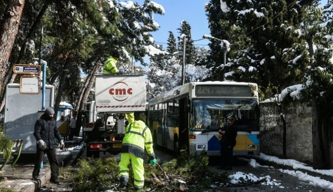 Συνεργεία του Δήμου Καισαριανής κόβουν δέντρα που είχαν πέσει από το βάρος του χιονιού σε καλώδια της ΔΕΗ.