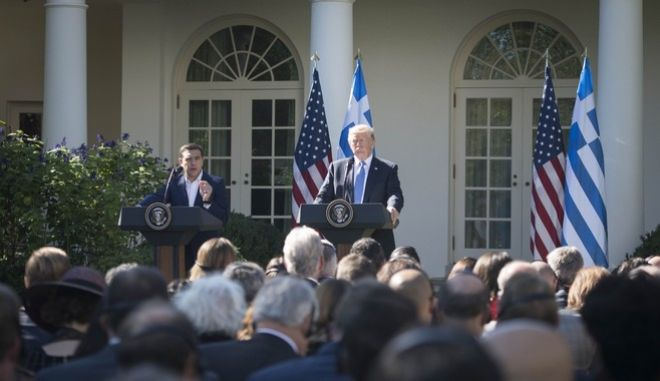 Joint statements of President of the United States Donald Trump and Greece's Prime Minister Alexis Tsipras following their meeting at the White House, Washington, USA on October 17, 2017. /             ,  , , , 17  2017.
