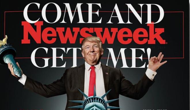 """Το φοβερό εξώφυλλο του Newsweek για τον Τραμπ: """"Ελάτε να με πιάσετε"""""""