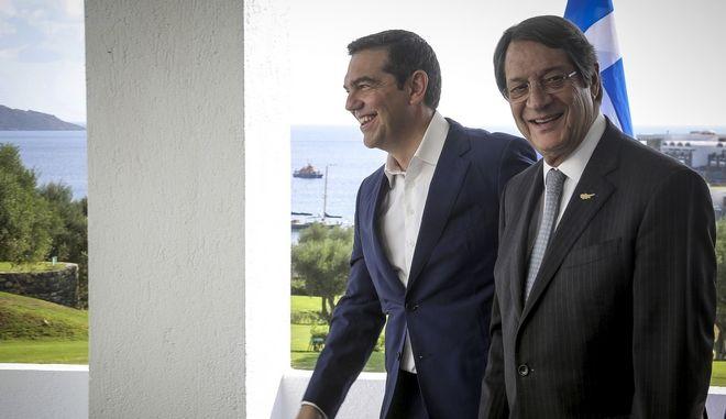 Ο Πρωθυπουργός, Αλέξης Τσίπρας, με τον Πρόεδρο της Κυπριακής Δημοκρατίας, Νίκο Αναστασιάδη