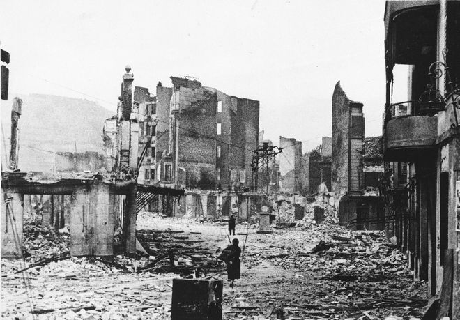 The ancient Basque village of Guernica is shown after an unprovoked attack by German Luftwaffe on April 26, 1937, in which 1,700 of the 5,000 inhabitants were killed. (AP Photo)