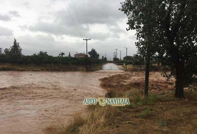 Πλημμύρισε το ρέμα της Πάνιτσας στην Αργολίδα