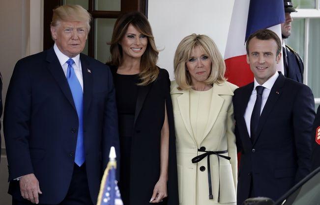 Τραμπ και Μακρόν μαζί με τις συζύγους τους συναντιούνται στον Λευκό Οίκο