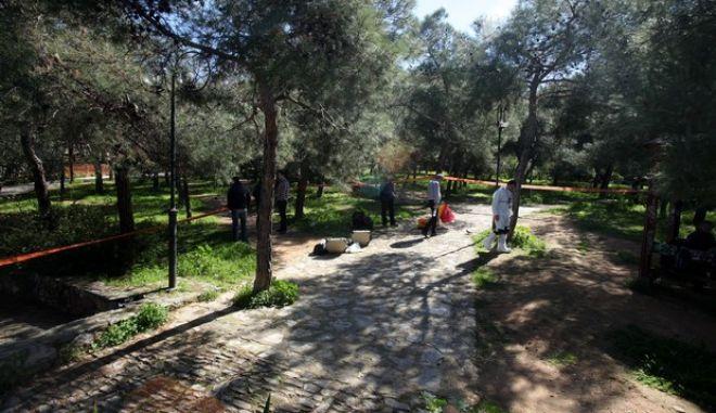 Αστυνο0μικοί ερευνυν το σημείο στο Άλσος του Χολαργού όπου βρέθηκε μαχαιρωμένος νεαρός άνδρας την Τρίτη 3 Μαρτίου 2015. (EUROKINISSI/ΚΩΣΤΑΣ ΚΑΤΩΜΕΡΗΣ)