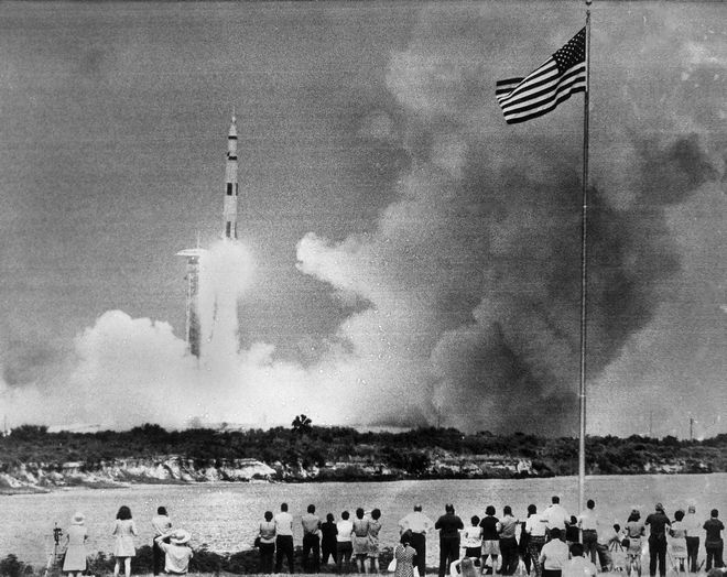 The huge Saturn rocket carrying the Apollo 13 spacecraft is on its moon mission, lifts off the launch pad at Cape Kennedy, Fla., April 11, 1970