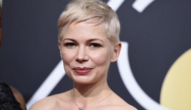 Michelle Williams arrives at the 75th annual Golden Globe Awards at the Beverly Hilton Hotel on Sunday, Jan. 7, 2018, in Beverly Hills, Calif. (Photo by Jordan Strauss/Invision/AP)