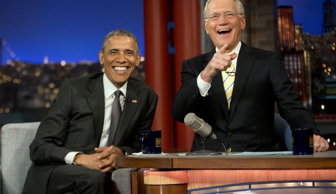 """President Barack Obama with host David Letterman smile during a break at a taping of CBS The Late Show with David Letterman at the Ed Sullivan Theater in New York, Monday, May 4, 2015. Obama traveled to New York to announced the creation of an independent nonprofit organization that is a spinoff his """"My Brother's Keeper"""" program, to tape a segment on Letterman's show and to do fundraising for the Democratic party. (AP Photo/Pablo Martinez Monsivais)"""