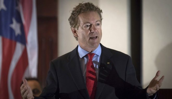 Sen. Rand Paul, R-Ky., speaks to supporters gathered at The Champions of Liberty Rally in Hebron, Ky., Friday, Aug. 11, 2017. Paul was joined at the fundraising event by Kentucky Gov. Matt Bevin, and U.S. Reps Thomas Massie, R-Ky., and Jim Jordan, R-Ohio. (AP Photo/Bryan Woolston)