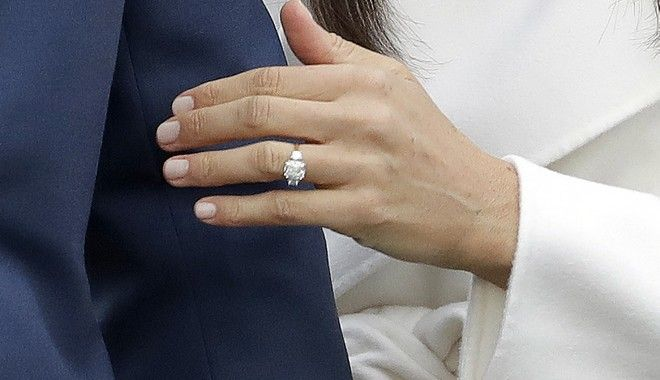Britain's Prince Harry's fiancee Meghan Markle shows off her engagement ring as she poses for photographers during a photocall in the grounds of Kensington Palace in London, Monday Nov. 27, 2017. Britain's royal palace says Prince Harry and actress Meghan Markle are engaged and will marry in the spring of 2018. (AP Photo/Matt Dunham)